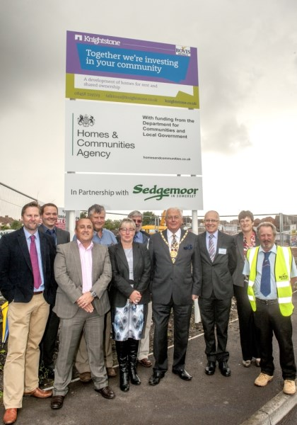 Bovis Homes site manager with representatives of Sedgemoor DC, the HCA and Knightstone Housing